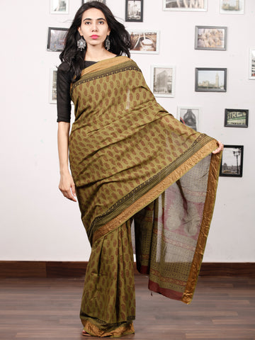 Olive Green Maroon Black Bagh Printed Maheshwari Cotton Saree - S031703317