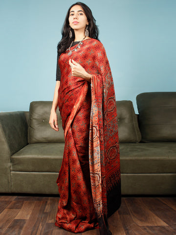Red Indigo Black Ajrakh Hand Block Printed Modal Silk Saree in Natural Colors - S031703359