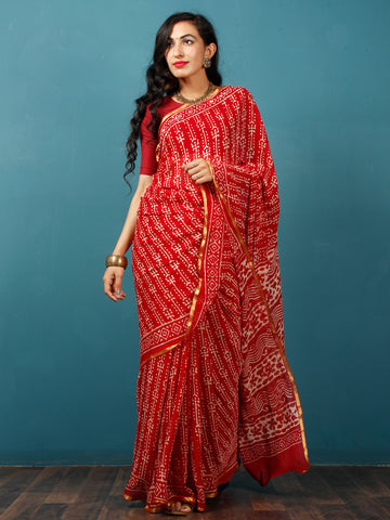 Red White Hand Block Printed Chiffon Saree with Zari Border - S031702785