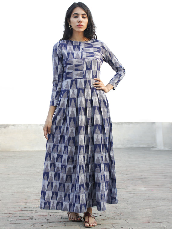 Indigo Grey  Handwoven Long Ikat Dress With Thread Details-  D177F1053