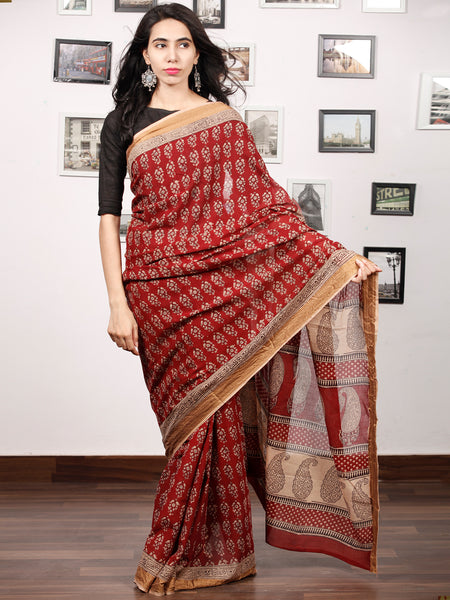 Maroon Beige Black Bagh Printed Maheshwari Cotton Saree - S031703318
