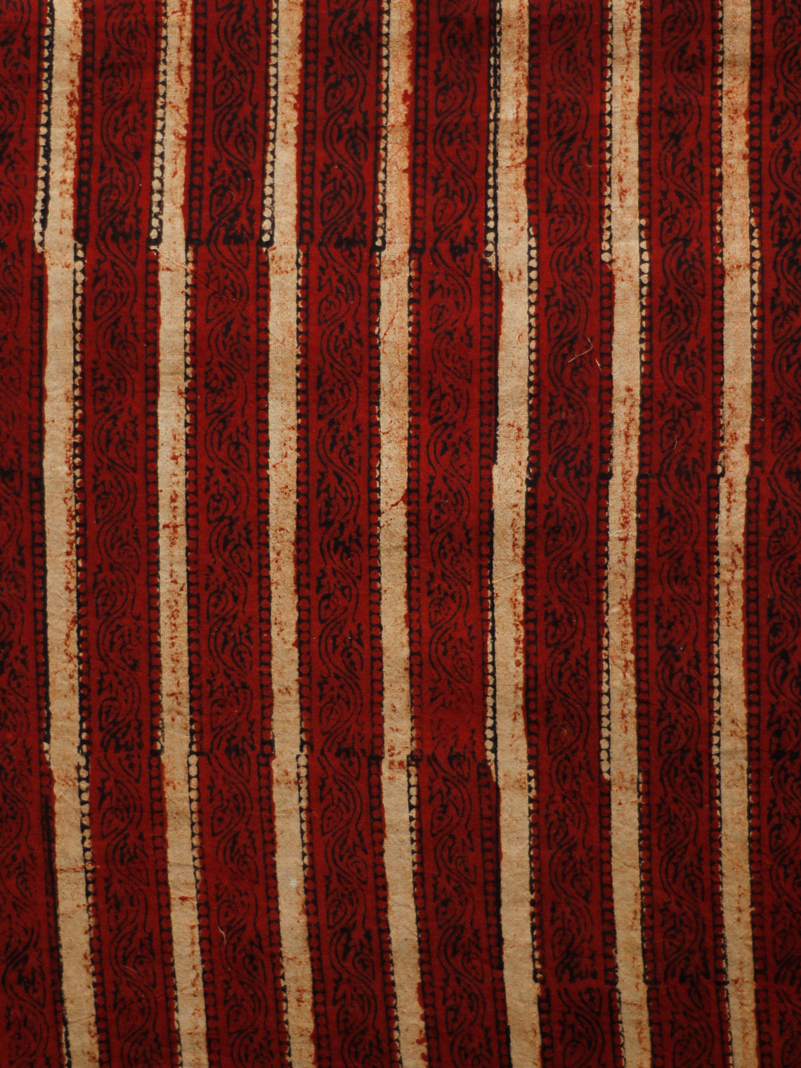 Maroon Ivory Black Hand Block Printed Cotton Fabric Per Meter - F001F1824