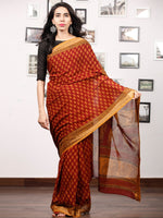 Maroon Rust Orange Black Bagh Printed Maheshwari Cotton Saree - S031703319
