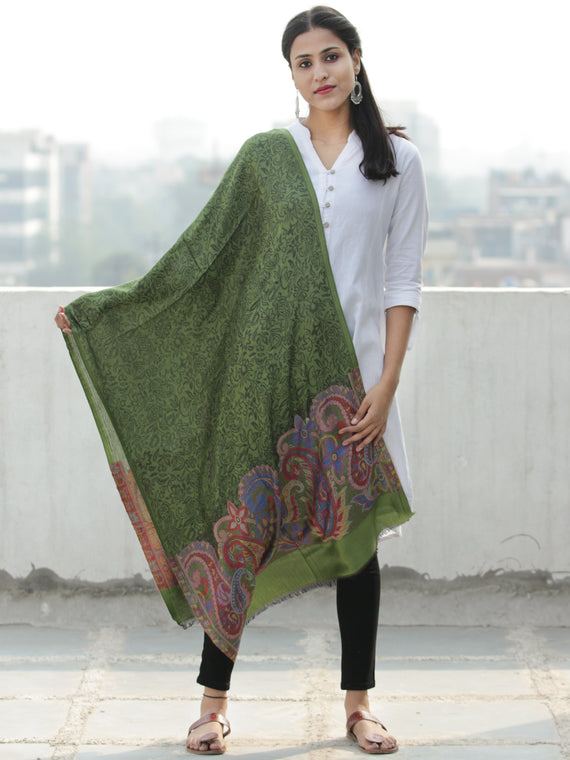 Green Black Paisly Weaved Border Silk Wool Kashmiri Stole - S200568