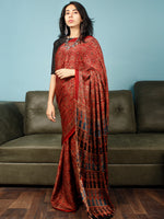 Red Indigo Black Ajrakh Hand Block Printed Modal Silk Saree in Natural Colors - S031703361