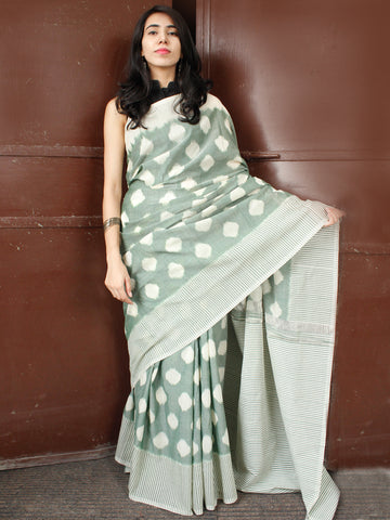 Sage Green Ivory Double Ikat Handwoven Mercerised Cotton Saree - S031703659