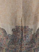 Beige Ivory Light Brown Paisly Weaved Border Silk Wool Kashmiri Stole - S200571