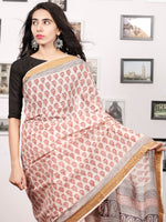 Light Beige Maroon Black Bagh Printed Maheshwari Cotton Saree - S031703322
