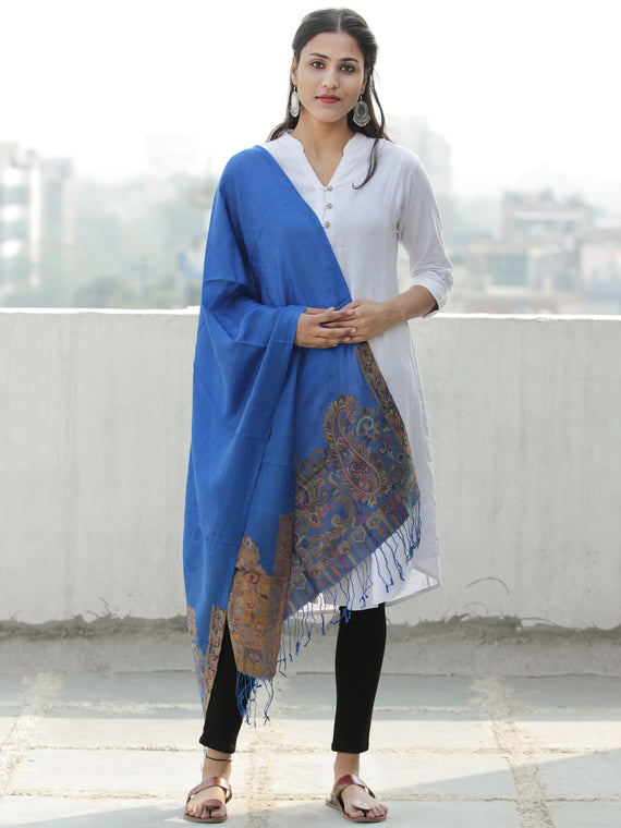 Royal Blue Multi Color Paisly Weaved Border Silk Wool Kashmiri Stole - S200570