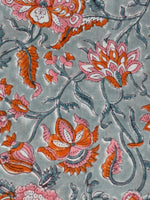 Pastel Grey Orange Pink Hand Block Printed Modal Cotton Fabric Per Meter - F001F1846