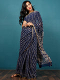 Indigo Ivory Hand Block Printed Chiffon Saree with Zari Border - S031702792