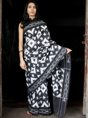 Black White Telia Rumal Grey Double Ikat Handwoven Cotton Saree - S031703642