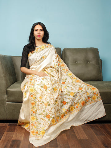 Ivory Yellow Rust Green Aari Embroidered Bhagalpuri Silk Saree From Kashmir  - S031704064