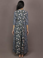 Indigo Basil Green Beige Ivory Hand Block Printed Long Princess Line Cotton Dress With Pockets - D2740301