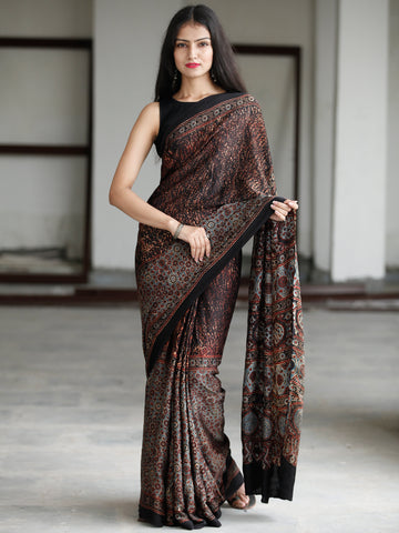 Black Reddish Brown Blue Beige Ajrakh Hand Block Printed Modal Silk Saree in Natural Colors - S031703731