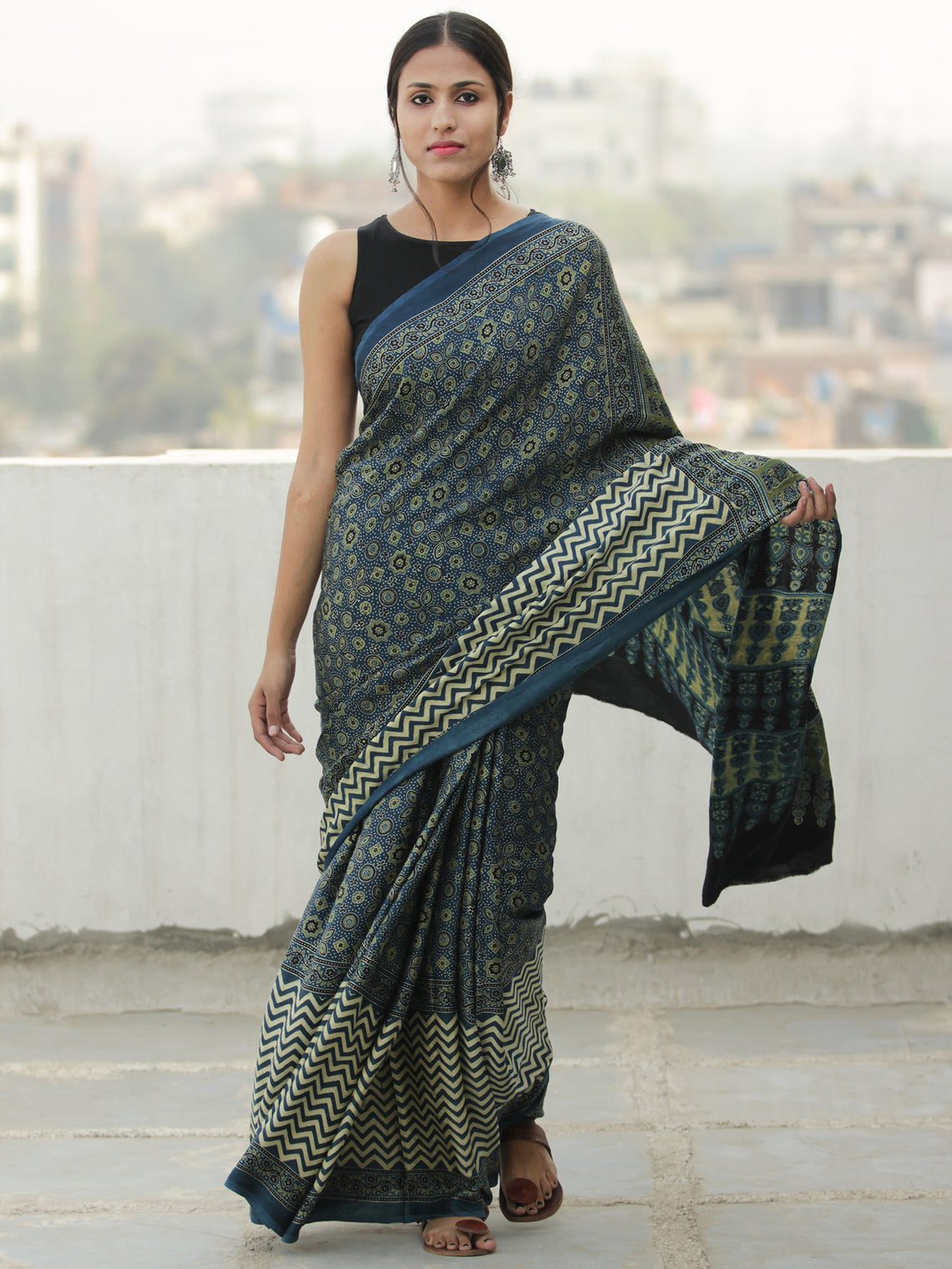 Green Indigo Ivory Ajrakh Hand Block Printed Modal Silk Saree in Natural Colors - S031704113