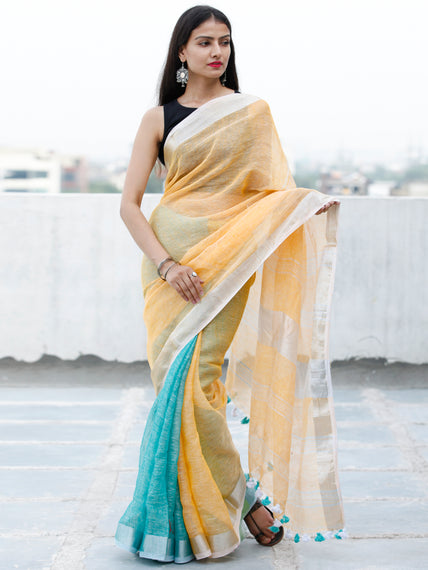 Pastel Orange Aqua Blue Silver Handwoven Linen Saree With Zari Border & Tassels - S031703758