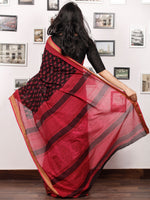 Black Pink Bagh Printed Maheshwari Cotton Saree - S031703325