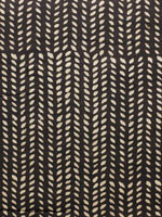 Black Beige Hand Block Printed Cotton Fabric Per Meter - F001F1828
