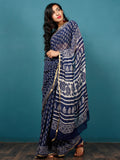 Indigo Ivory Hand Block Printed Chiffon Saree with Zari Border - S031702794