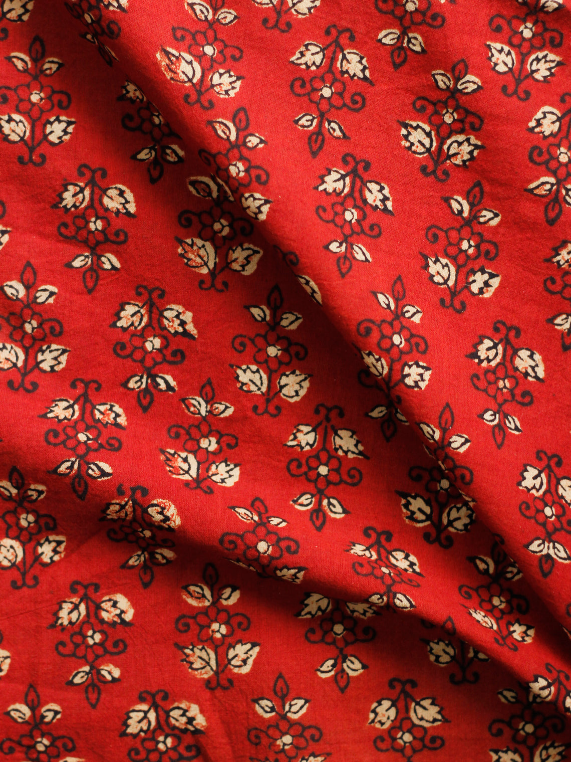 Rust Beige Black Hand Block Printed Cotton Fabric Per Meter - F001F1830
