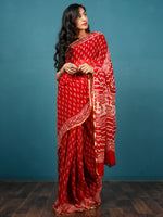 Red White Hand Block Printed Chiffon Saree with Zari Border - S031702796