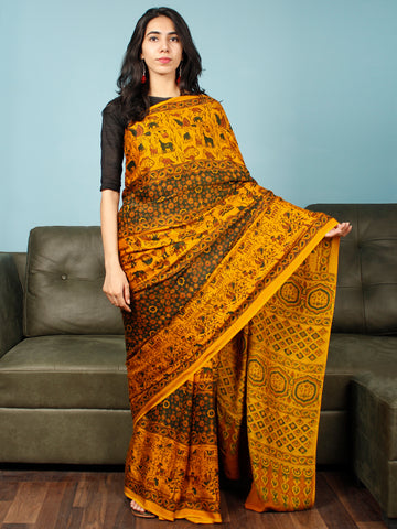 Yellow Green Rust Ajrakh Hand Block Printed Modal Silk Saree in Natural Colors - S031703369