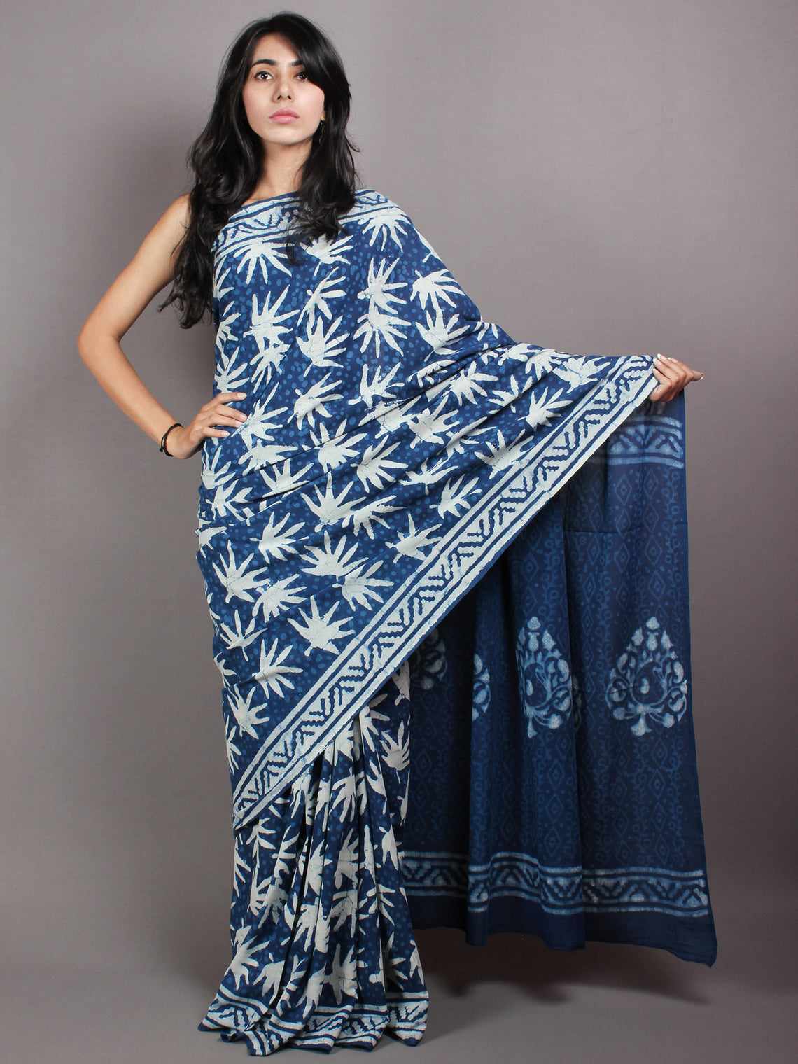Indigo White Hand Block Printed in Natural Colors Cotton Mul Saree - S03170426