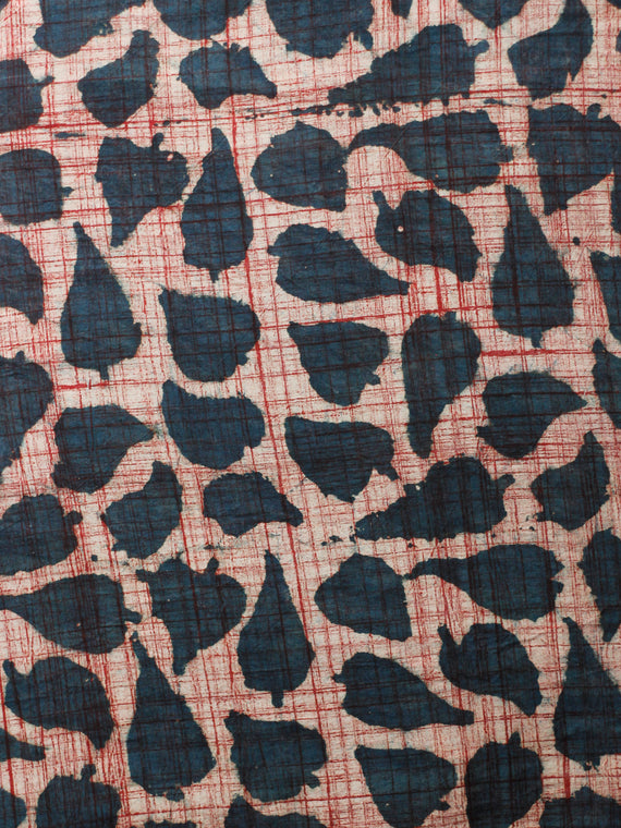 Ivory Indigo Red Hand Block Printed Cotton Fabric Per Meter - F001F1832