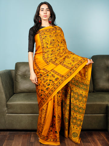 Yellow Green Rust Ajrakh Hand Block Printed Modal Silk Saree in Natural Colors - S031703370