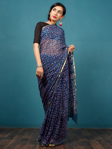 Indigo Lavender Hand Block Printed Chiffon Saree with Zari Border - S031702798