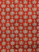 Rust & Beige Hand Block Printed Cotton Fabric Per Meter - F001F1834