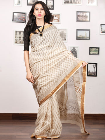 Beige Olive Green Bagh Printed Maheshwari Cotton Saree - S031703332