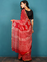 Red White Hand Block Printed Chiffon Saree with Zari Border - S031702800