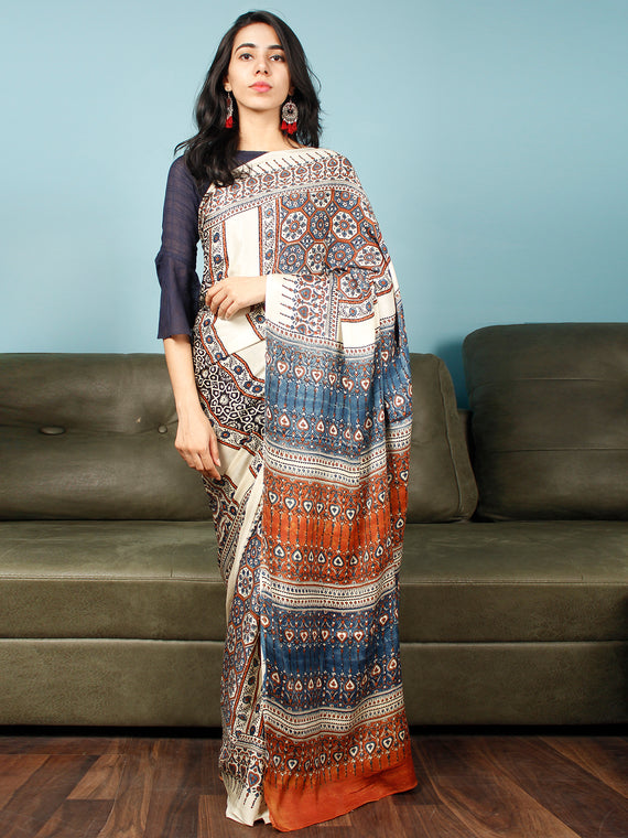 Ivory Indigo Rust Ajrakh Hand Block Printed Modal Silk Saree in Natural Colors - S031703374