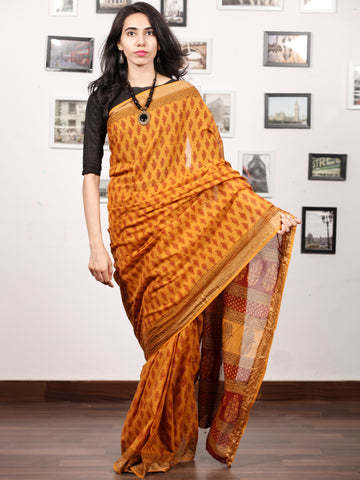 Rust Yelllow Maroon Black Bagh Printed Maheshwari Cotton Saree - S031703333