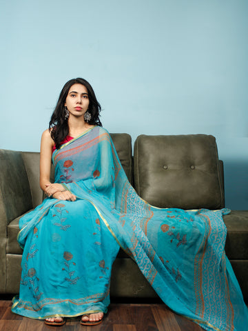 Sky Blue Rust Hand Block Printed Chiffon Saree with Zari Border - S031703375