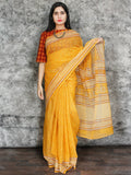 Yellow Orange Ivory Hand Block Printed Kota Doria Saree in Natural Colors - S031703109