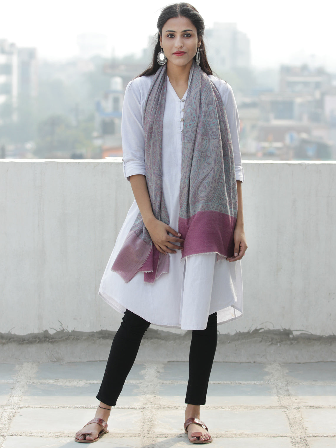 Grey Pink Sky Blue Pure Cashmere Wool Jamavar Stole  - S200579