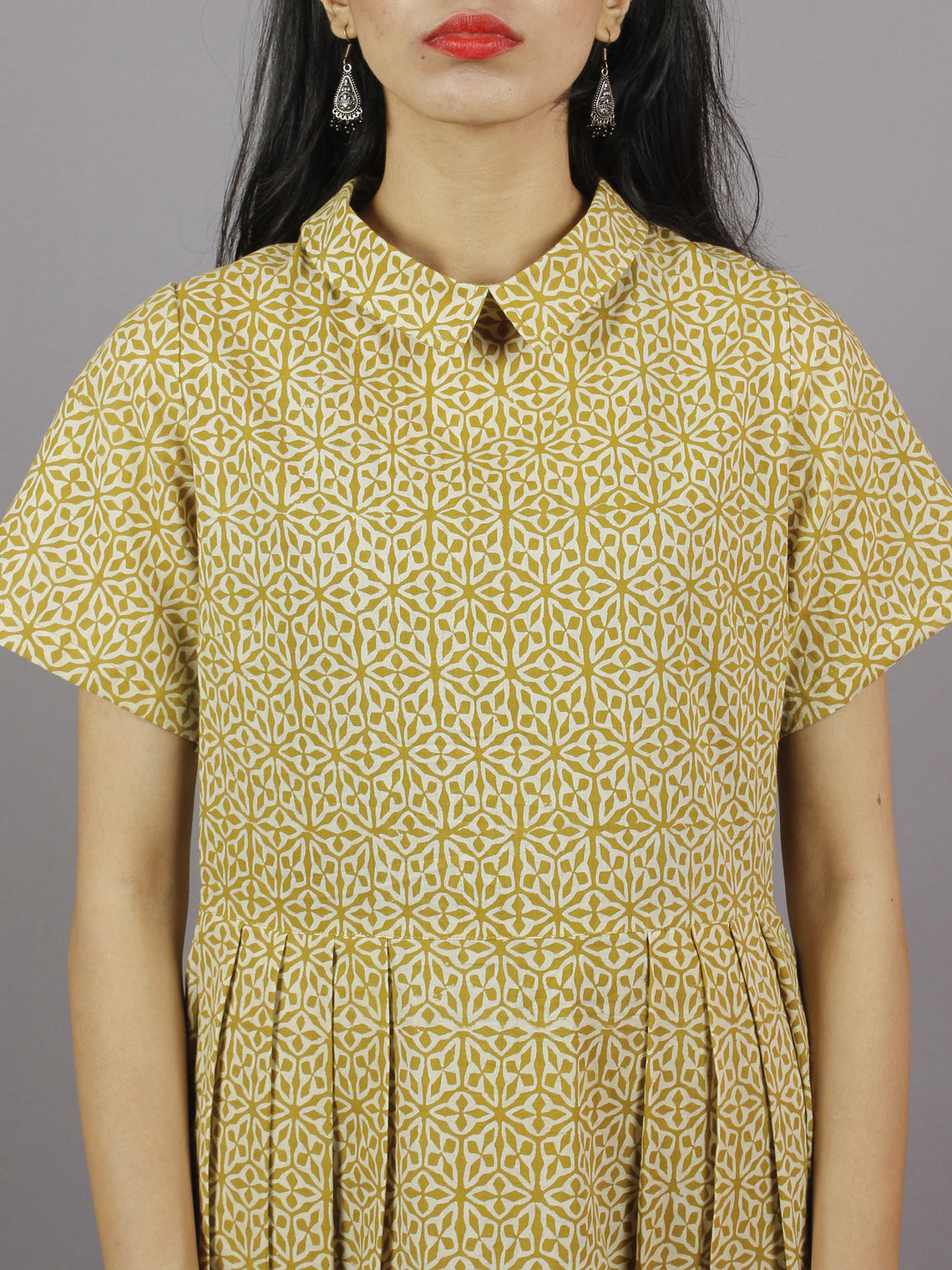 Mustard Yellow & Ivory Hand Block Cotton Dress With Knife Pleats & Side Pockets- D3942901