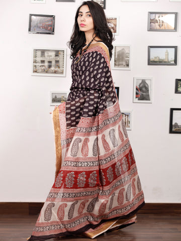 Black Beige Maroon Bagh Printed Maheshwari Cotton Saree - S031703335