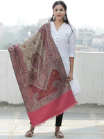 Beige Rosewood Pink Jacouard Jamawar Needle Embroidered Woollen Kashmiri Stole - S200591