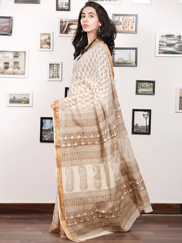 Beige Brown Bagh Printed Maheshwari Cotton Saree - S031703336
