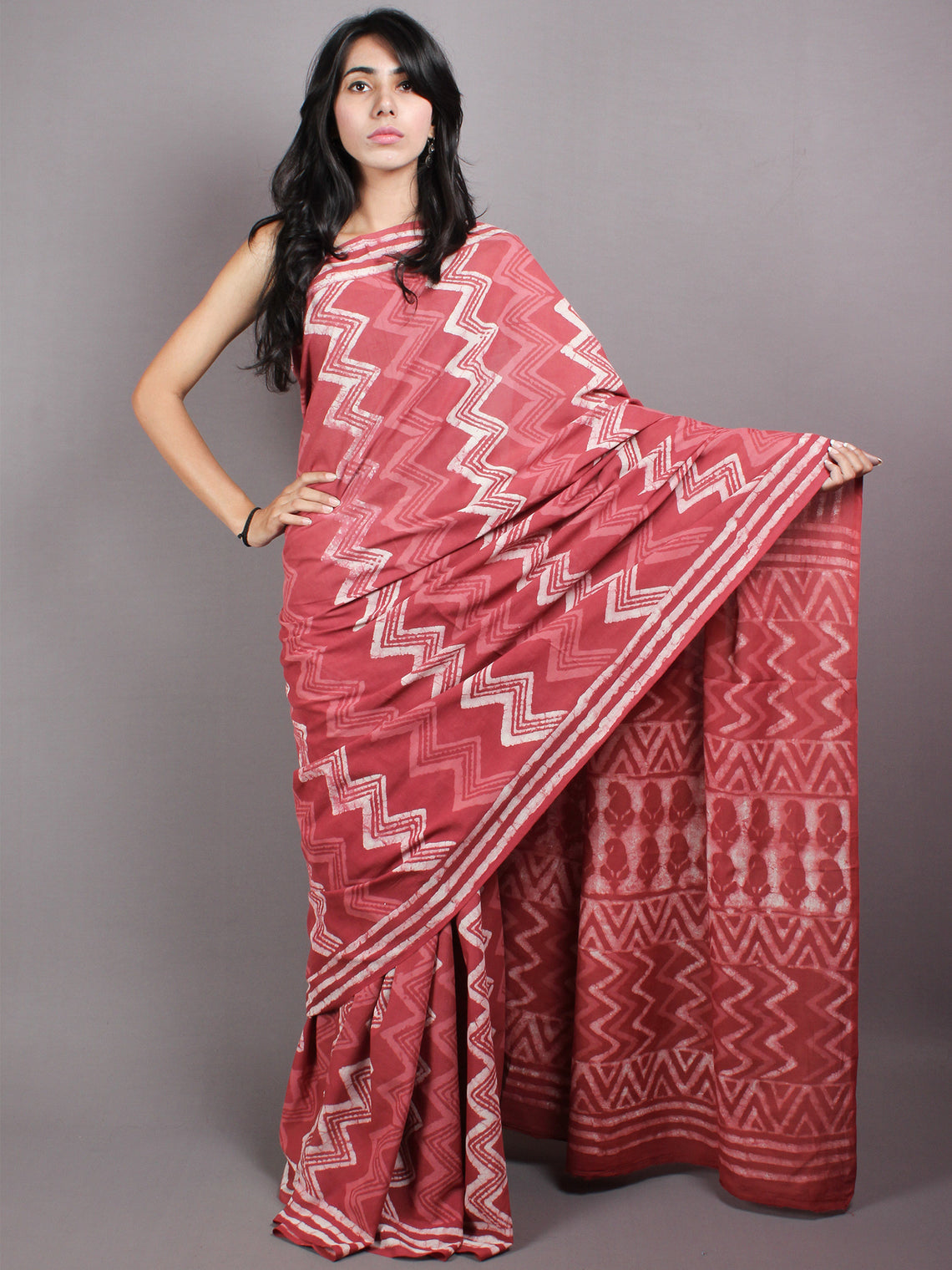 Dark Peach Beige Hand Block Printed in Natural Colors Cotton Mul Saree - S03170428