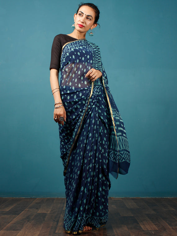 Indigo Blue Hand Block Printed Chiffon Saree with Zari Border - S031702805