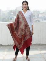 Beige Red Orange Jacouard Jamawar Needle Embroidered Woollen Kashmiri Stole - S200593