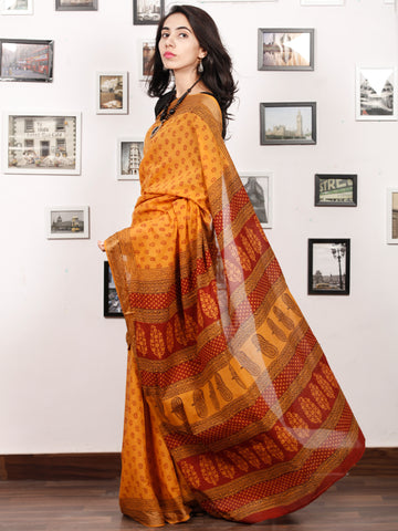 Yellow Maroon Black Bagh Printed Maheshwari Cotton Saree - S031703337