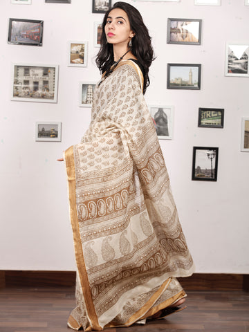 Beige Brown Bagh Printed Maheshwari Cotton Saree - S031703338