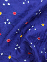 Royal Blue White Megenta Bandhini Glace Cotton Fabric Per Meter - F006F1847