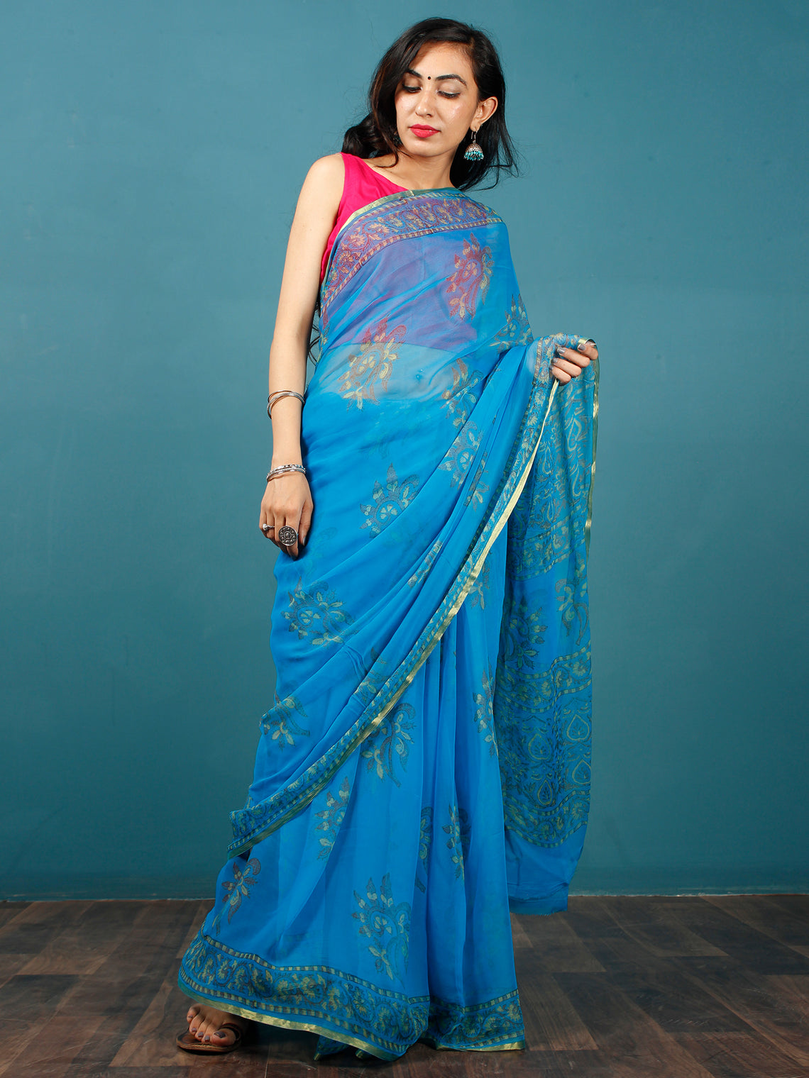 Blue Green Yellow Hand Block Printed Chiffon Saree with Zari Border - S031702808